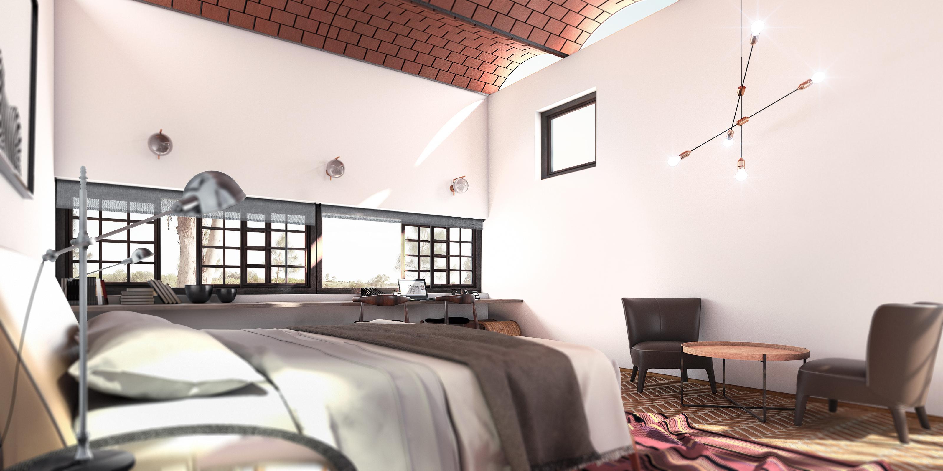 Guest Room Interior design Render Mediterranean(1)