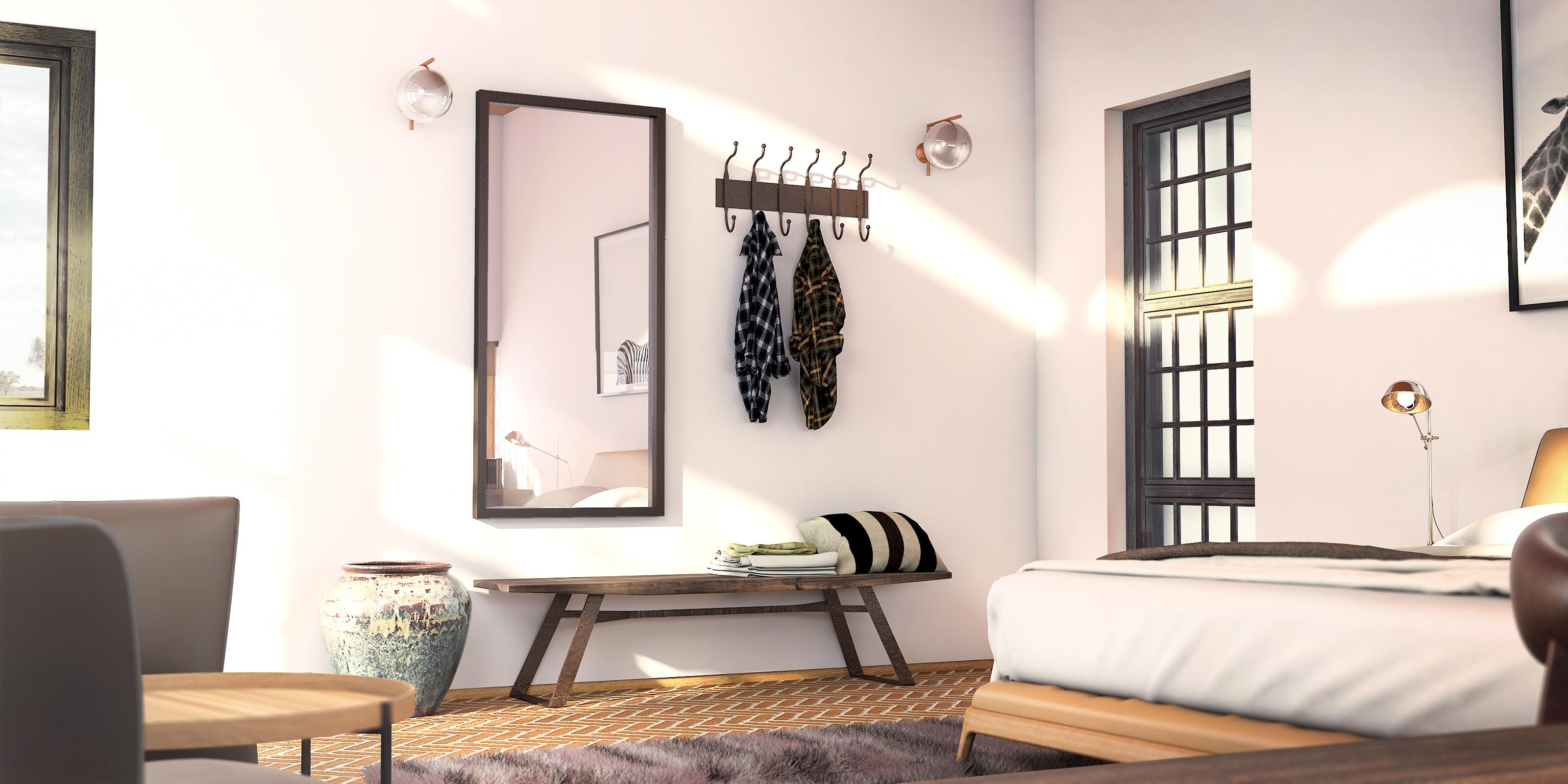 Guest Room Interior design Render Mediterranean(2)